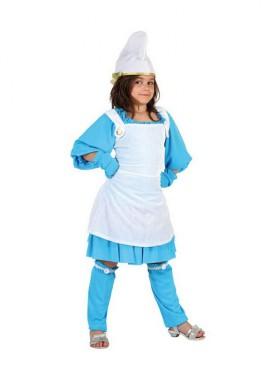 Disfraz de Enanita Azul para niñas de 7 a 9 años