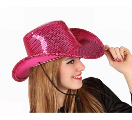 Sombrero Cowboy o Vaquero rosa con lentejuelas