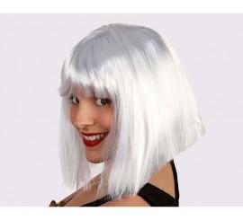 Perruque blanche Mi-long avec Frange