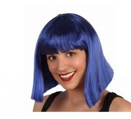 Perruque Bleue Mi-long avec Frange