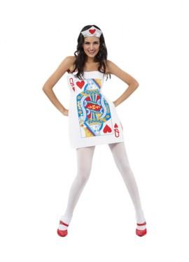 Disfraz de Carta Dama de Corazones para mujer M-L