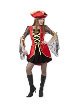 Déguisement Pirate Sexy rojo et noir pour Femme taille M-L