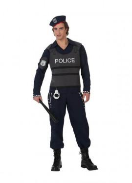 Disfraz Policía con chaleco antibalas hombre