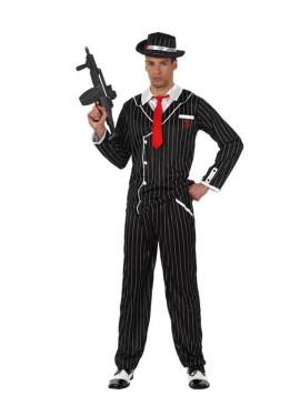 Disfraz de Gánster negro a rayas hombre