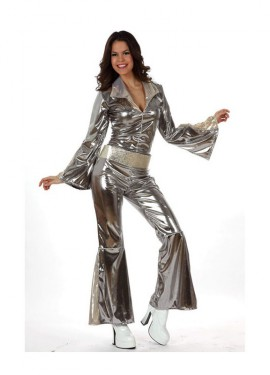 Disfraz Disco gris plata para mujer