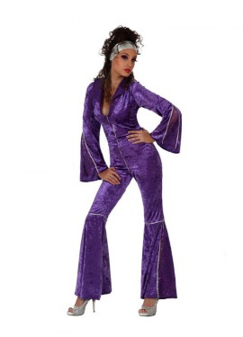 Disfraz de Chica Disco terciopelo mujer