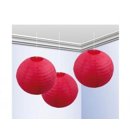 Bolsa de 3 faroles de 25 cm de color rojo