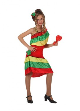 Disfraz de Rumbera con volantes para niñas