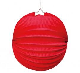 Farol Esférico de papel de 26 cm. de color rojo