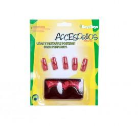 Pestañas y uñas postizas color rojo con purpurina