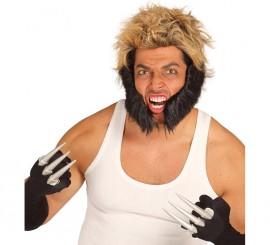 Patillas grandes negras de hombre Lobo