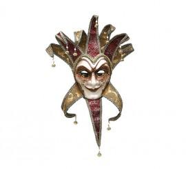 Masque de Venitien Arlequin Doré et Grenat