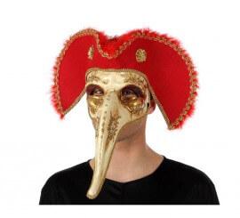 Masque de Venitien à long Nez avec Chapeau Pirate