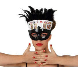 Máscara o Antifaz de Cartas de Póker con plumas