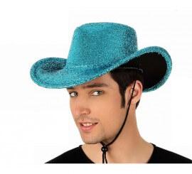 Sombrero de Cowboy o Vaquero azul brillante