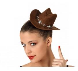 Mini Sombrero o gorro de Cowboy marrón con goma