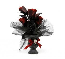 Macetero Calavera con flores de 28x7 cm para Halloween