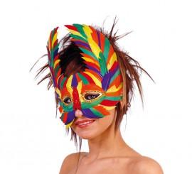 Antifaz de Loro multicolor de plumas