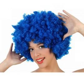 Perruque Afro Bleu 35 cm