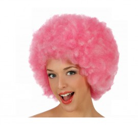 Peluca Afro de Hippie rosa de 40 cm