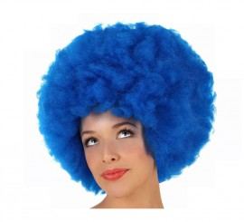 Peluca Afro de Hippie azul de 40 cm