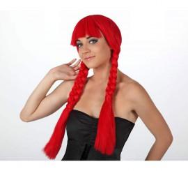 Peluca roja larga con trenzas y flequillo