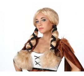 Peluca de Vikinga con trenzas rubia