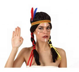Perruque Indienne à couettes et plumes pour Femme