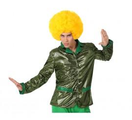 Camisa de la Disco Brillo verde para hombre talla S