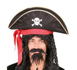 Gorro o Sombrero de Pirata negro con Calavera