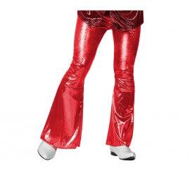 Pantalón de la Disco Brillo rojo para hombre