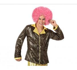 Camisa de la Disco Brillo dorada para hombre