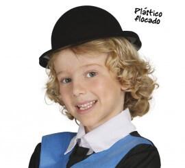 Sombrero Bombín flocado negro infantil