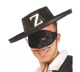 Sombrero de El Zorro de fieltro negro