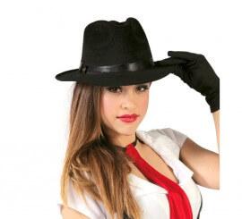 Sombrero Ganster de tela negro