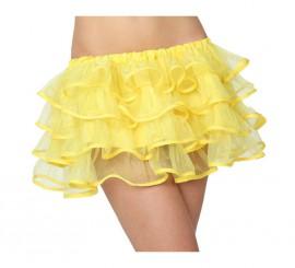 Falda con volantes amarilla neon para chicas