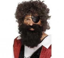 Barba y Bigote color Castaño de Pirata