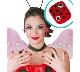 Caja de 24 uñas de Mariquita con pegamento