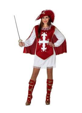 Disfraz de Mosquetera Granate para mujer