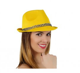 Sombrero Ganster amarillo con banda de brillantes