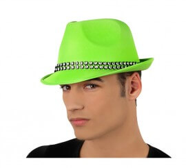 Sombrero Ganster verde con banda de brillantes