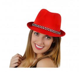 Sombrero Ganster rojo con banda de brillantes