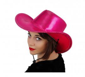 Sombrero Cowboy o Vaquero fucsia con lentejuelas