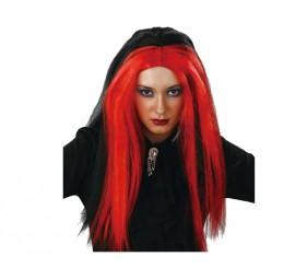 Perruque Longue de Sorcière Noire et Rouge Halloween