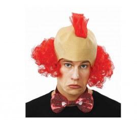 Calva de Payaso con pelo y cresta rojo