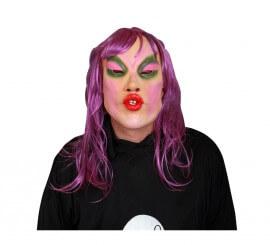 Masque de Femme avec Cheveux Pourpre