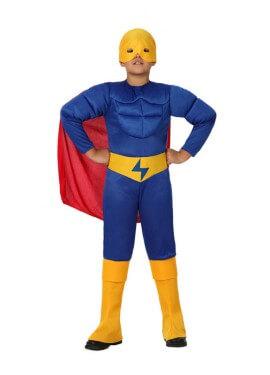 Disfraz de Héroe Musculoso azul para niños