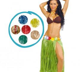 Falda Hawaiana con flores en la cintura de 75 cm.