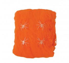 Telaraña naranja 60 gr. para decoración Halloween