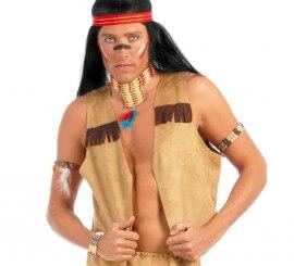 Chaleco marrón de Indio o Vaquero para adultos